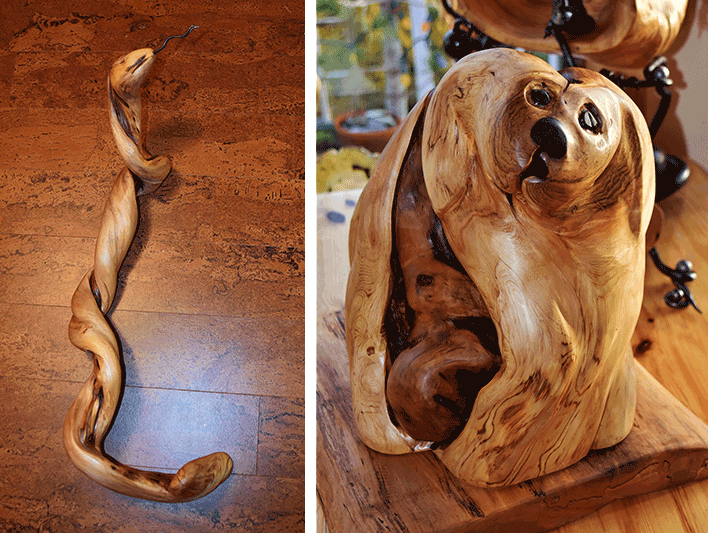 Wood-carved yellow cedar root snake and dog